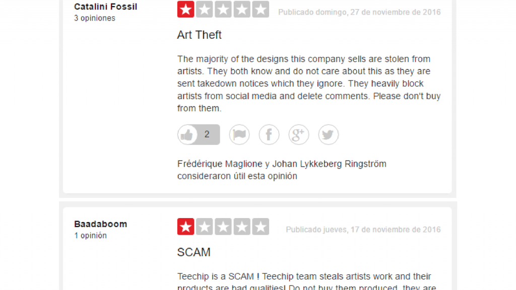 Screencaps: Negative reviews about TeeChip